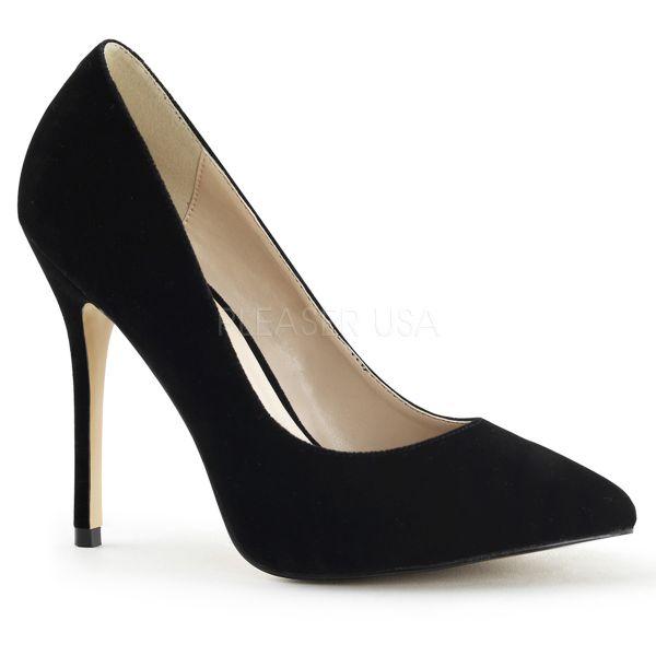 Klassische High Heel Pumps in schwarz Samt von Pleaser USA AMUSE-20